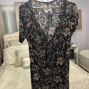 Express Floral Cut out and tie maxi dress